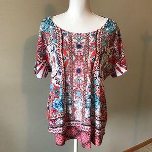 RWB knit top Rhinestones 3X Style & Co